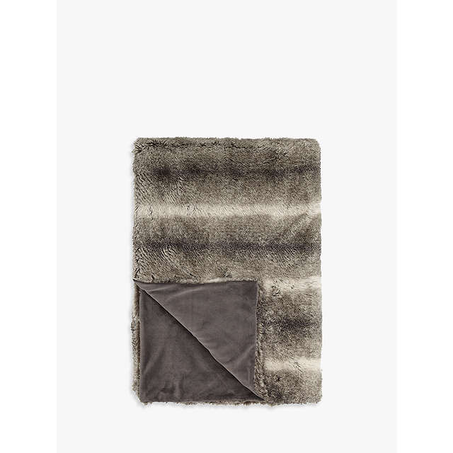 BuyJohn Lewis Faux Fur Throw, Ombre Mocha Online at johnlewis.com