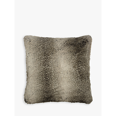 John Lewis Ombre Faux Fur Cushion, Mocha