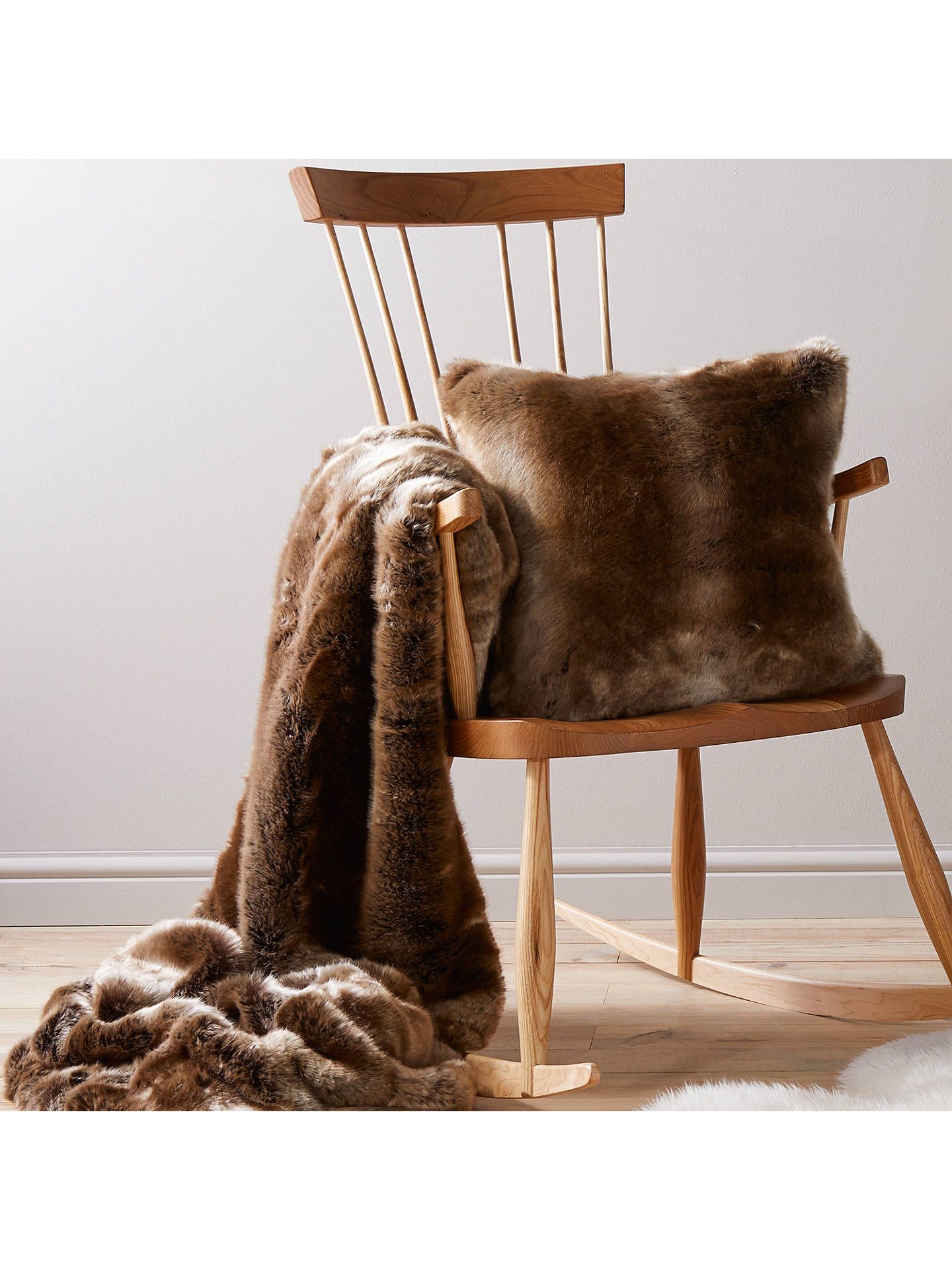 BuyJohn Lewis & Partners Faux Fur Cushion, Mocha Ombre Online at johnlewis.com