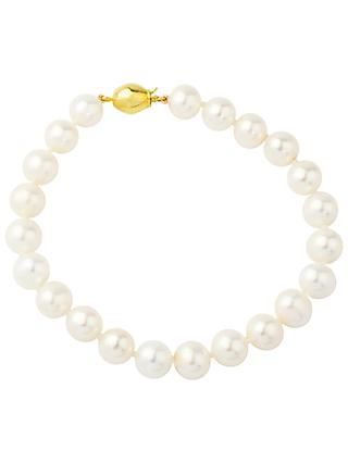 A B Davis 9ct Freshwater Cultured Pearl Bracelet, White