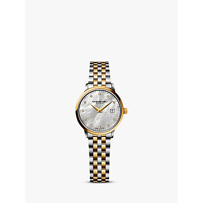 Raymond Weil 5988-STP-97081 Women's Toccata Two Tone Mother of Pearl Bracelet Strap Watch, Silver/Gold