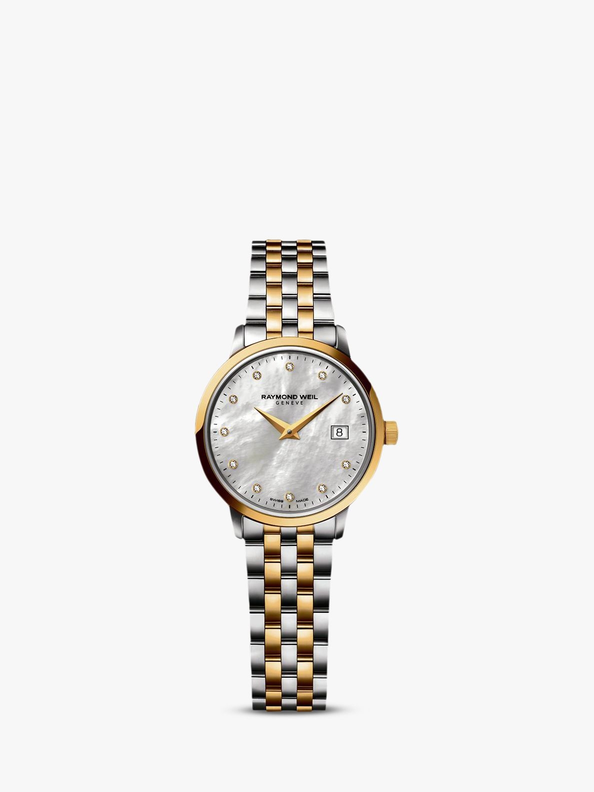 Raymond Weil Raymond Weil 5988-STP-97081 Women's Toccata Two Tone Mother of Pearl Bracelet Strap Watch, Silver/Gold