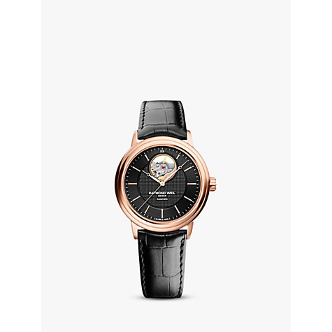 Buy Raymond Weil 2827-PC5-20001 Men's Maestro Rose Gold Plated Leather Strap Watch, Black Online at johnlewis.com