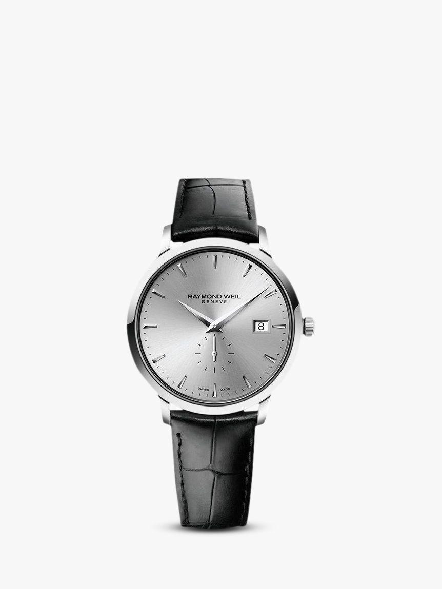 Raymond Weil Raymond Weil 5484-STC-65001 Men's Toccata Leather Strap Watch, Black/Silver