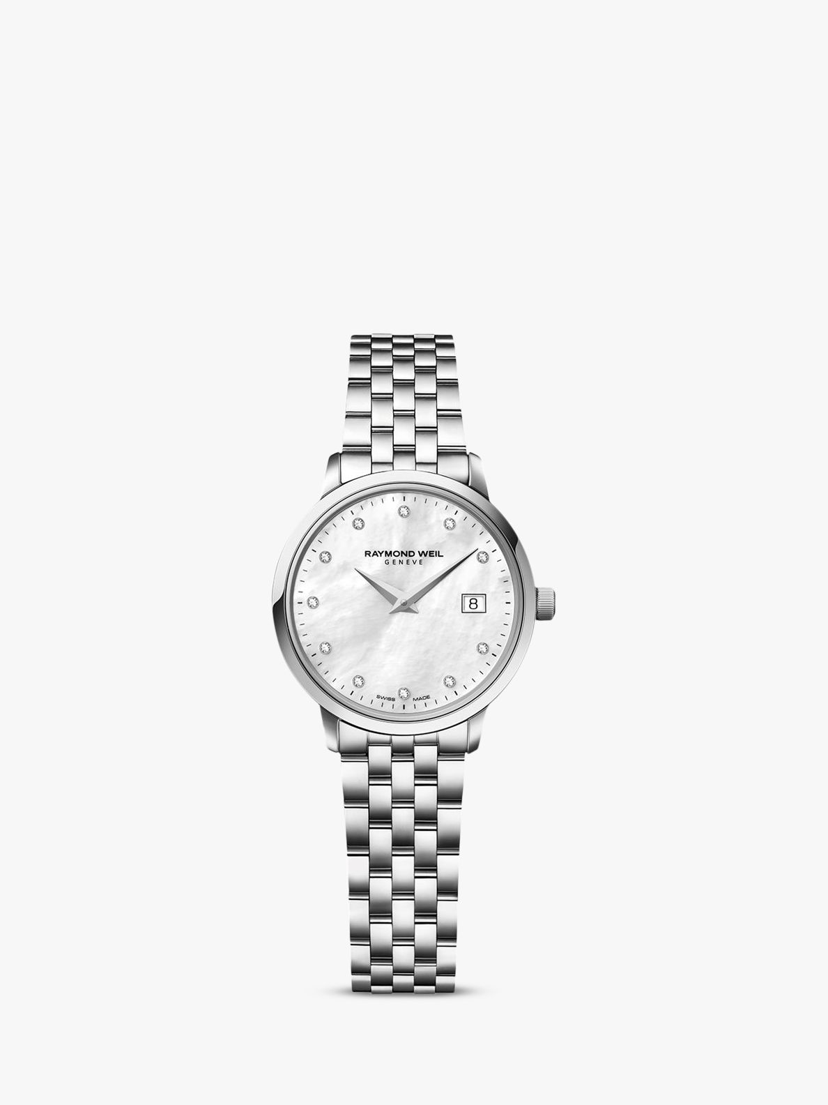 Raymond Weil Raymond Weil 5988-ST-97081 Women's Mother of Pearl Diamond Stainless Steel Bracelet Strap Watch, Silver