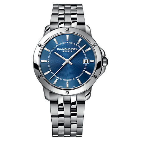 Buy Raymond Weil 5591-ST-50001 Men's Tango Stainless Steel Bracelet Strap Watch, Silver/Blue Online at johnlewis.com