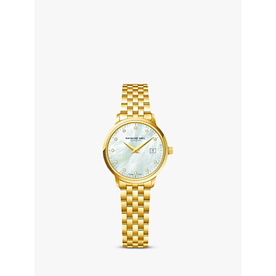 Raymond Weil 5988-P-97081 Women's Toccata Diamond Bracelet Strap Watch, Gold/Silver