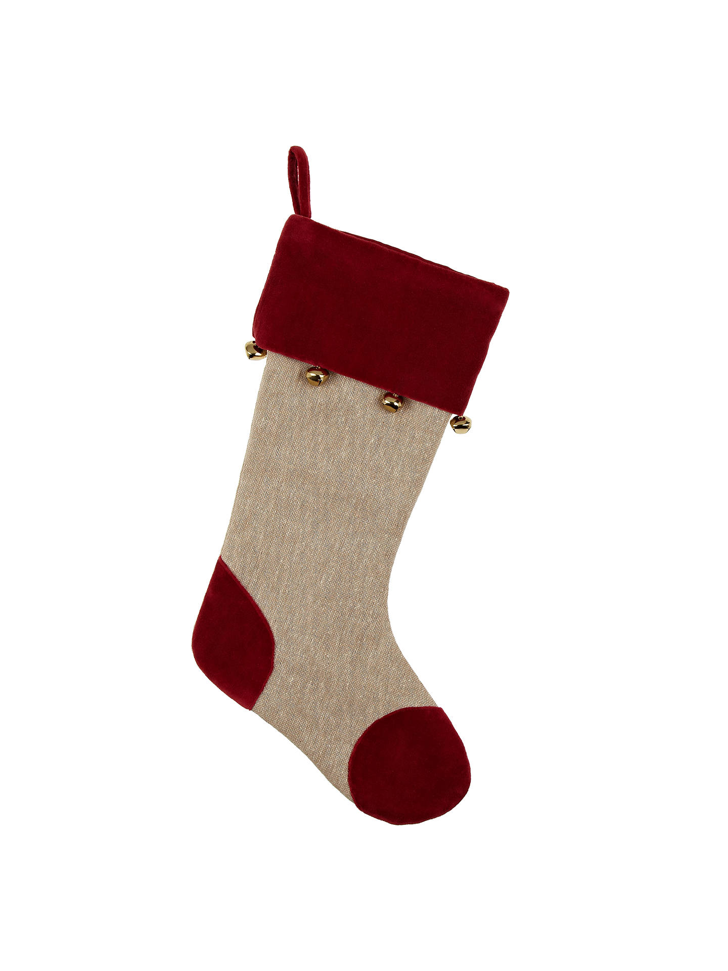 John Lewis Linen Bell Christmas Stocking, Red/Natural at ...