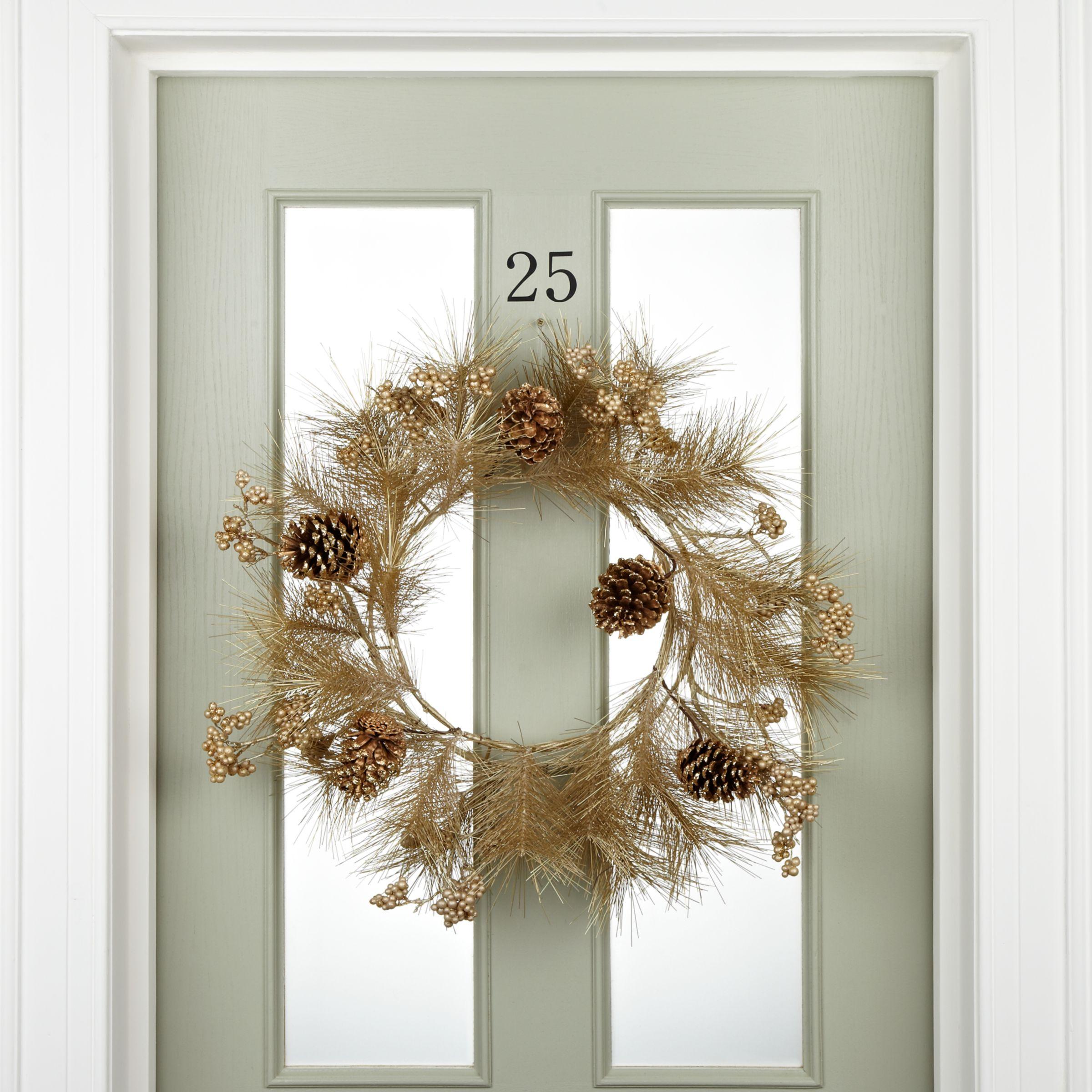 John Lewis Metallic Pinecone Wreath Gold At John Lewis Partners