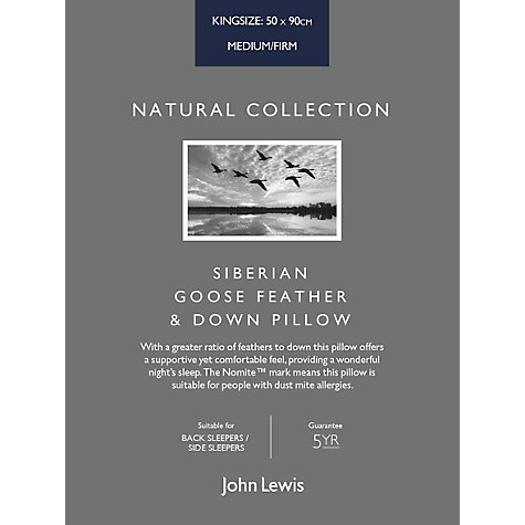 Buy John Lewis Natural Collection Siberian Goose Feather and Down Kingsize Pillow, Medium/Firm Online at johnlewis.com