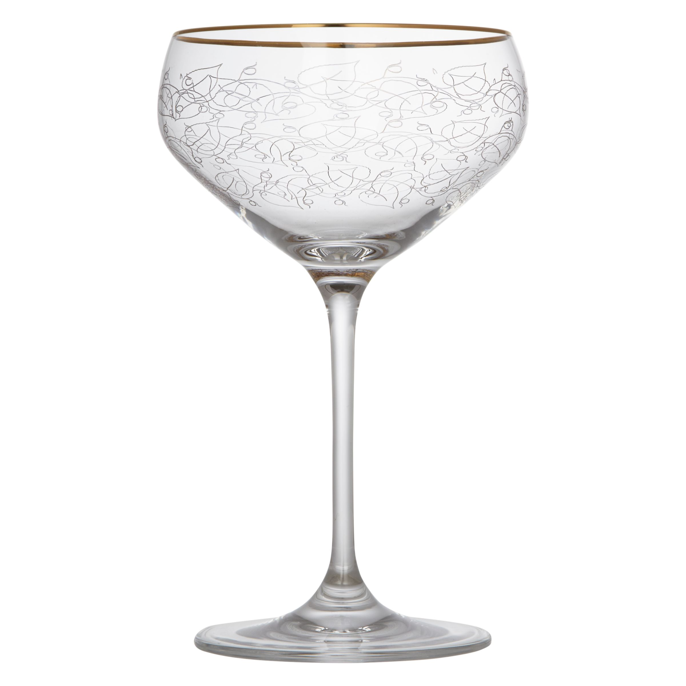 John Lewis Croft Collection Gold Etched Coupe Glass Clear 430ml At John Lewis Partners