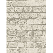 Buy House by John Lewis Brick Wall Wallpaper, Putty Online at johnlewis.com
