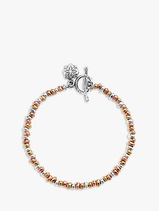 Dower & Hall Nomad Nugget Tri-Colour Mixed Bracelet, Gold/Silver