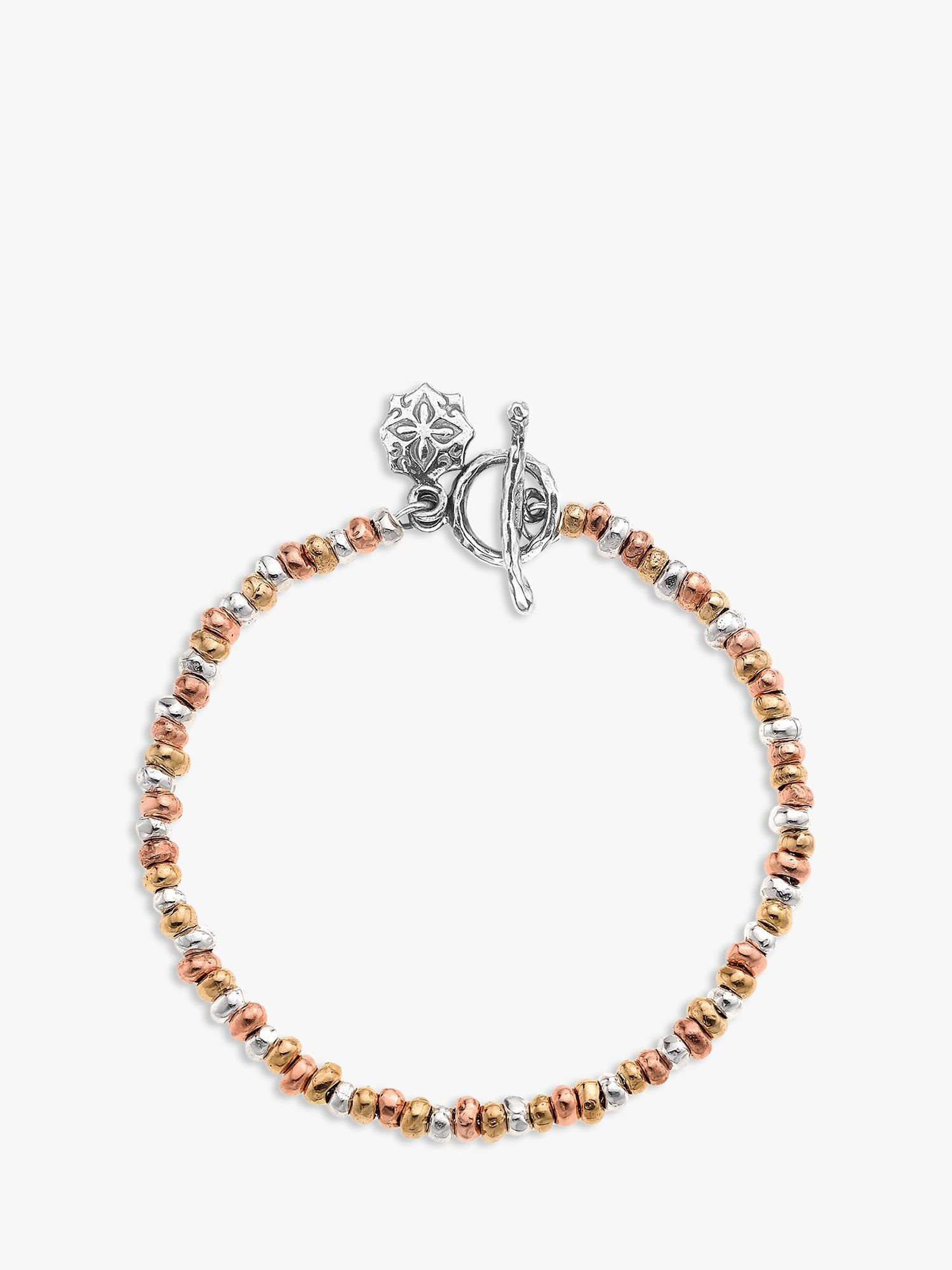 Dower & Hall Dower & Hall Nomad Nugget Tri-Colour Mixed Bracelet, Gold/Silver