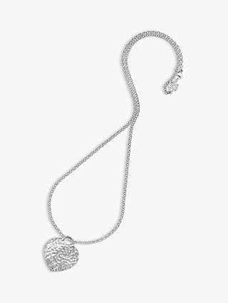 Dower & Hall Hammered Heart Necklace, Silver