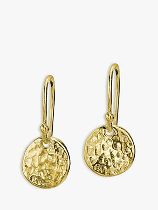 Dower & Hall 18ct Gold Vermeil Disc Drop Earrings