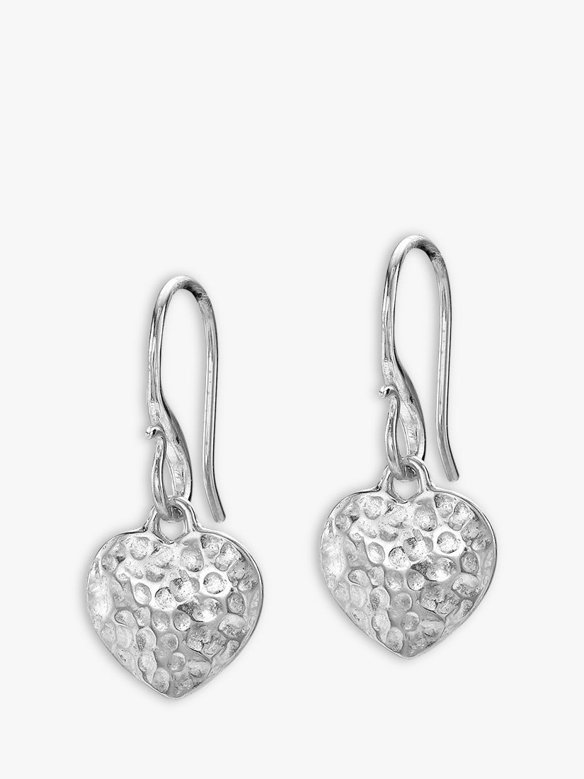 Dower & Hall Dower & Hall Hammered Heart Drop Earrings, Silver