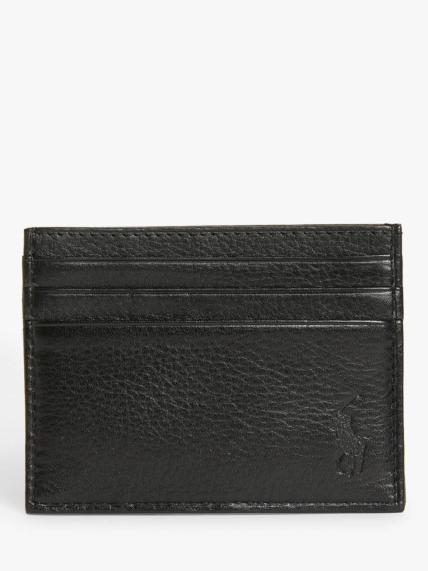 e2efccb0187 Buy Polo Ralph Lauren Pebble Leather Card Holder, Black Online at  johnlewis.com ...