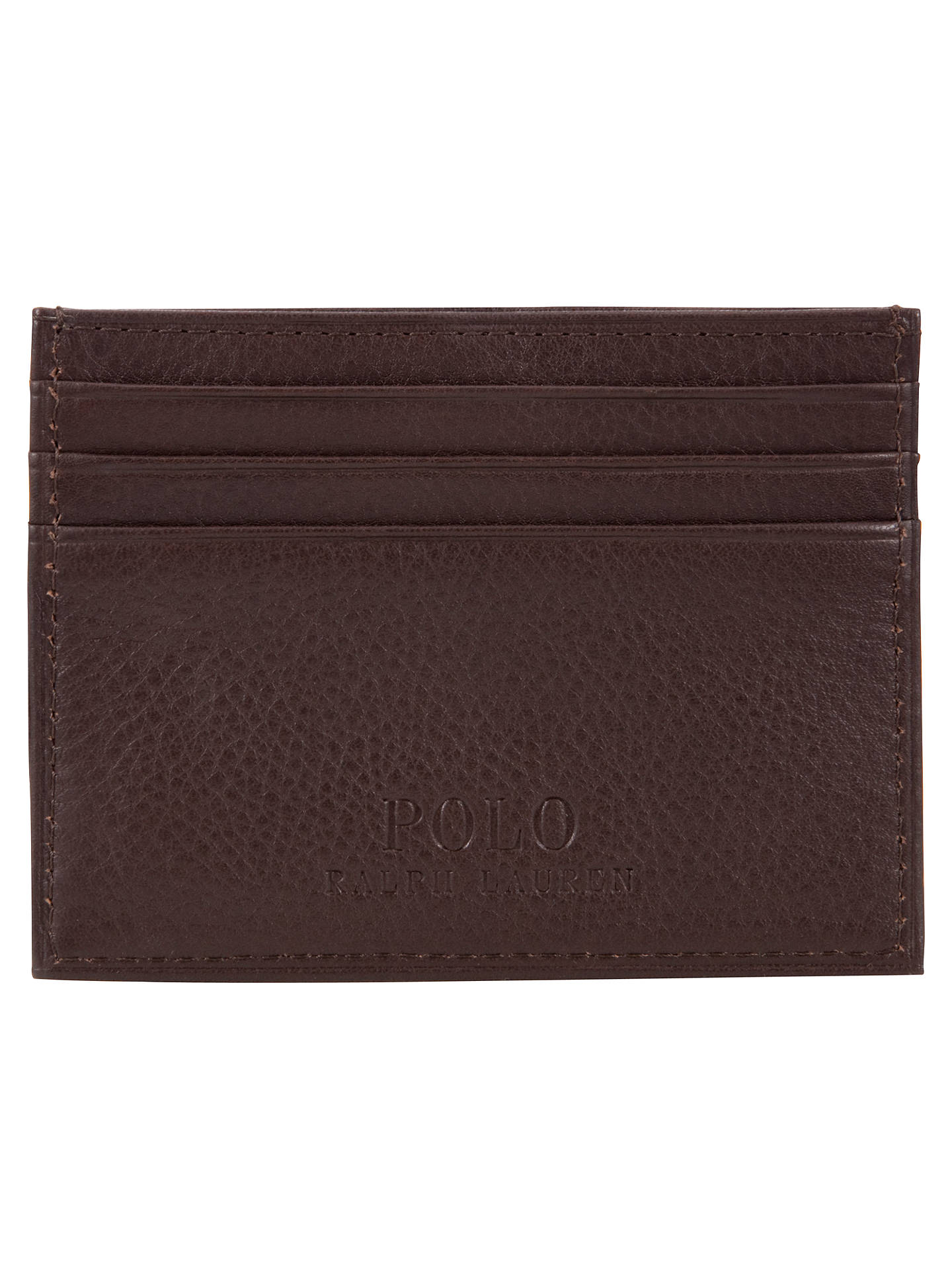BuyPolo Ralph Lauren Pebble Leather Card Holder, Brown Online at johnlewis.com
