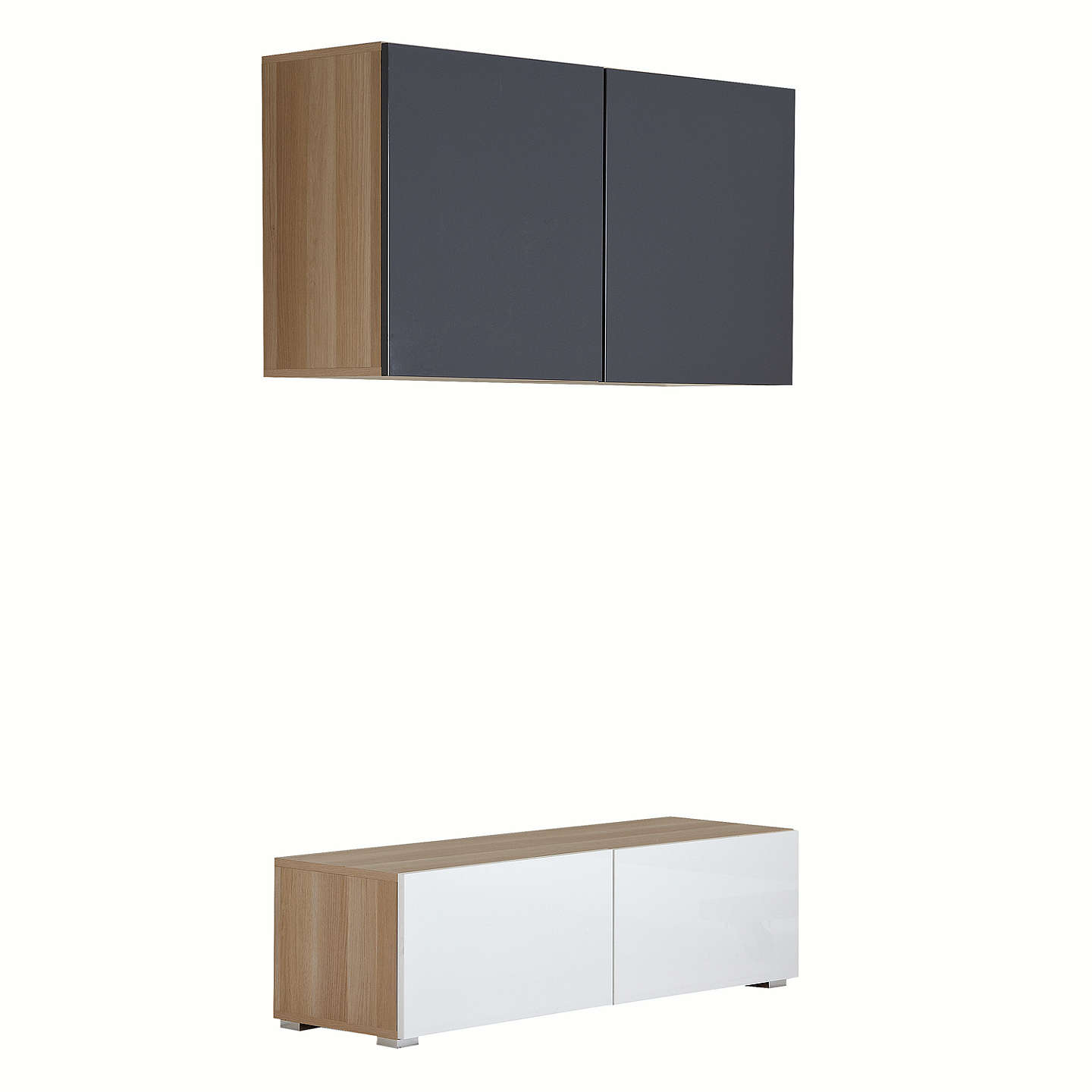 House by John Lewis Mix it 120cm Floor and Floating Units, Oak/White ...