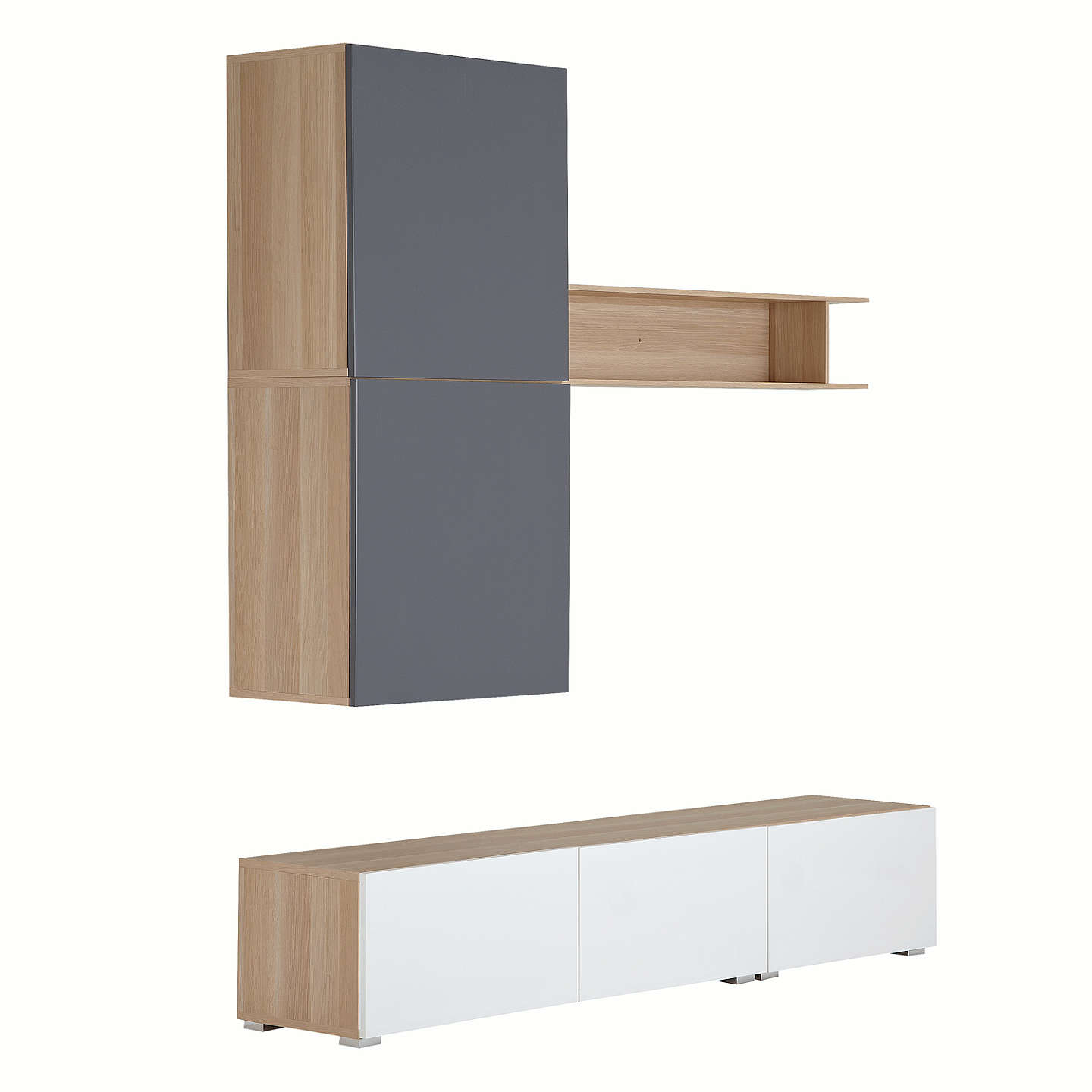 House by John Lewis Mix it 180cm Floor and Floating Units with Shelf ...