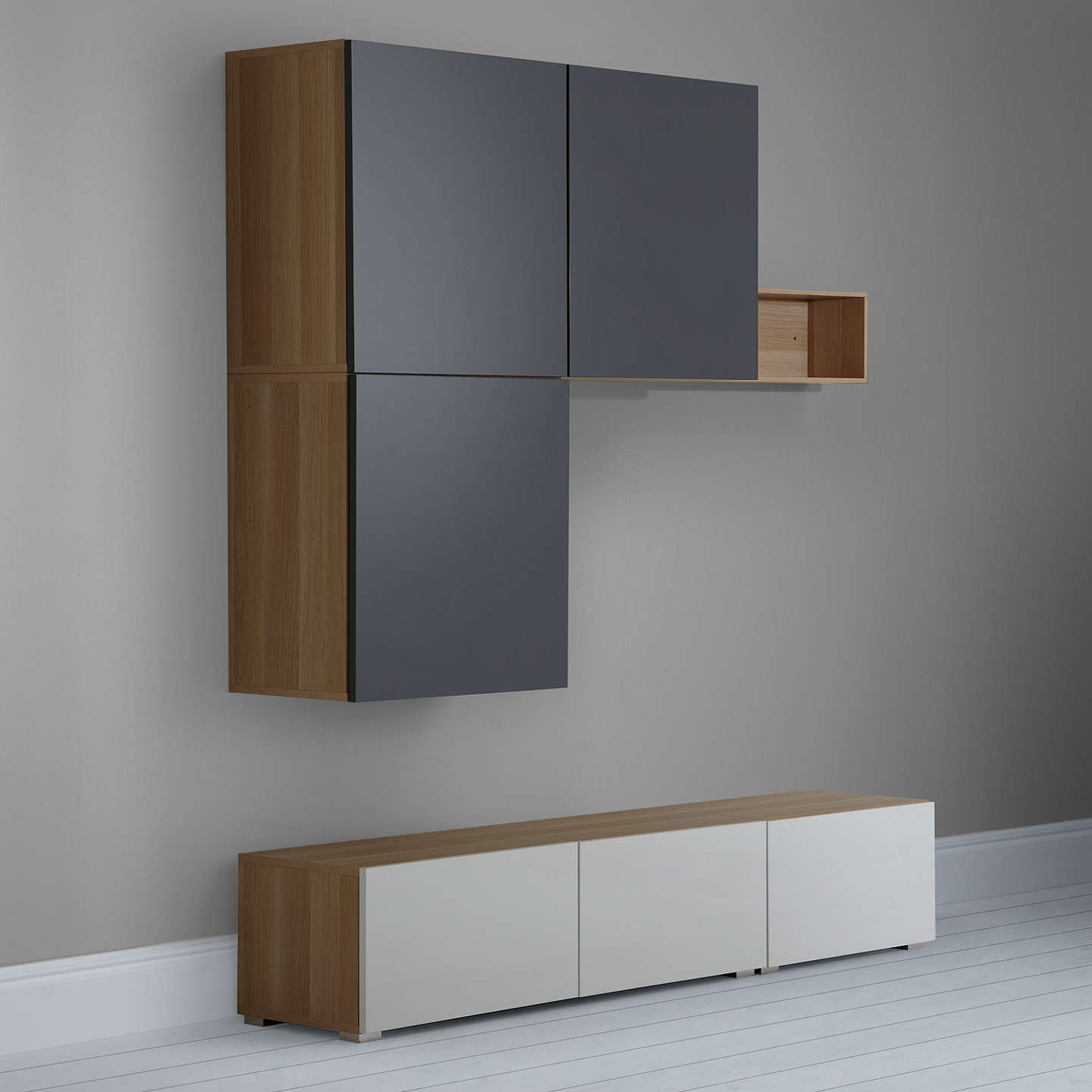 BuyHouse by John Lewis Mix it 180cm Floor and Floating Units with Short Shelf, Oak/White Online at johnlewis.com