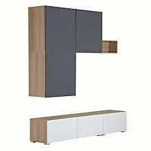 Buy House by John Lewis Match 180cm Floor and Floating Units with Short Shelf, Oak/White Online at johnlewis.com