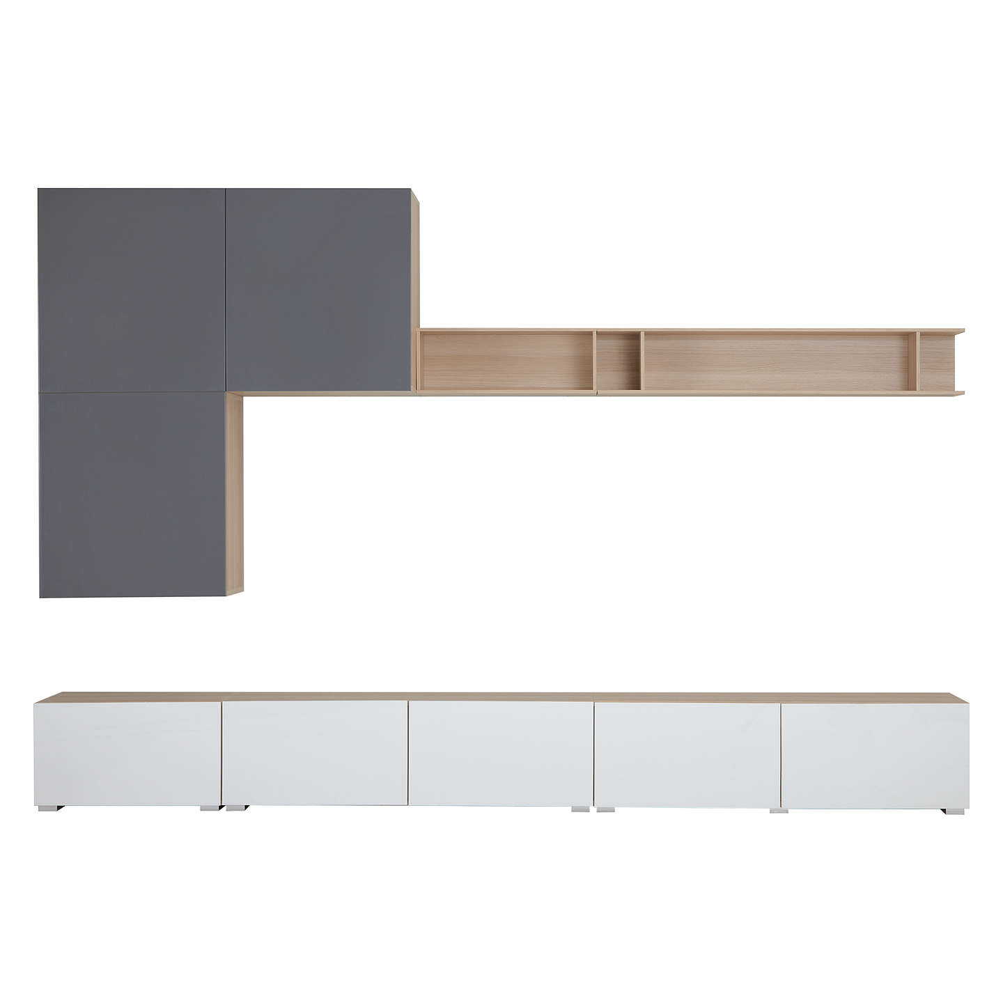BuyHouse by John Lewis Mix it 300cm Floor and Floating Units with Shelf, Oak/White Online at johnlewis.com