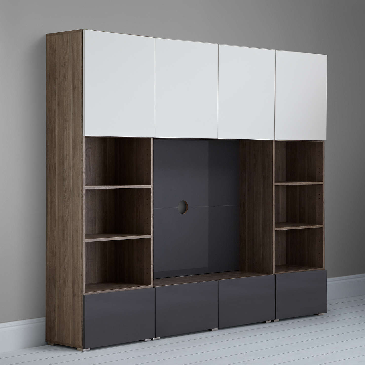 BuyHouse by John Lewis Mix it 240cm Media Unit with Steel Panel, Gloss Grey Online at johnlewis.com