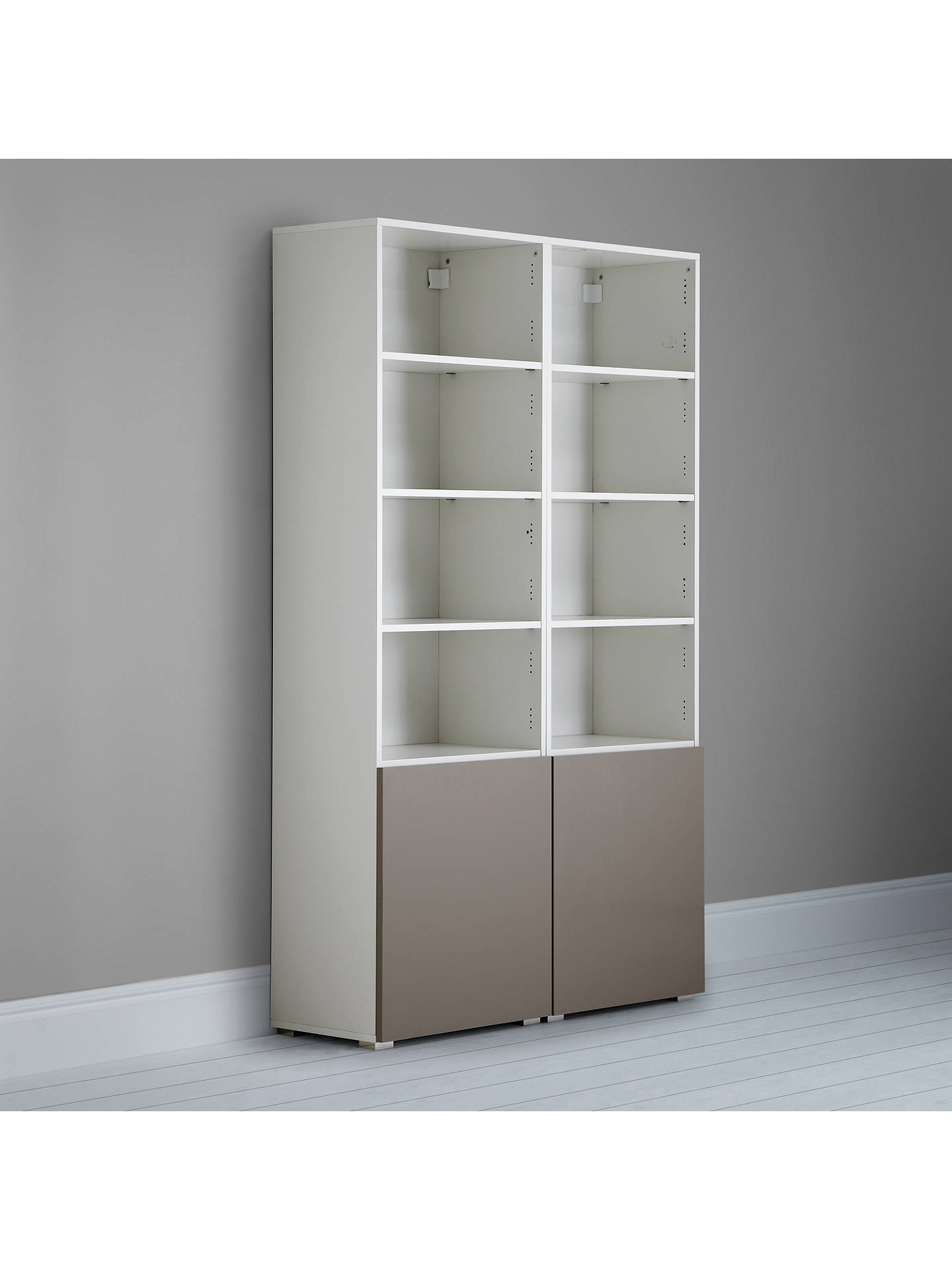 BuyHouse by John Lewis Mix it Tall 2-Door Double Shelf Unit, White/Mocha Online at johnlewis.com