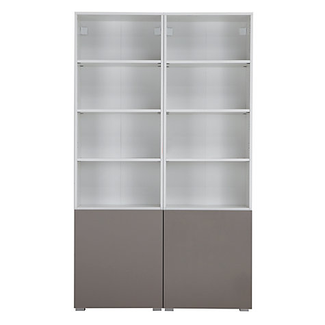 Buy House by John Lewis Match Tall 2-Door Double Shelf Unit, White/Mocha Online at johnlewis.com