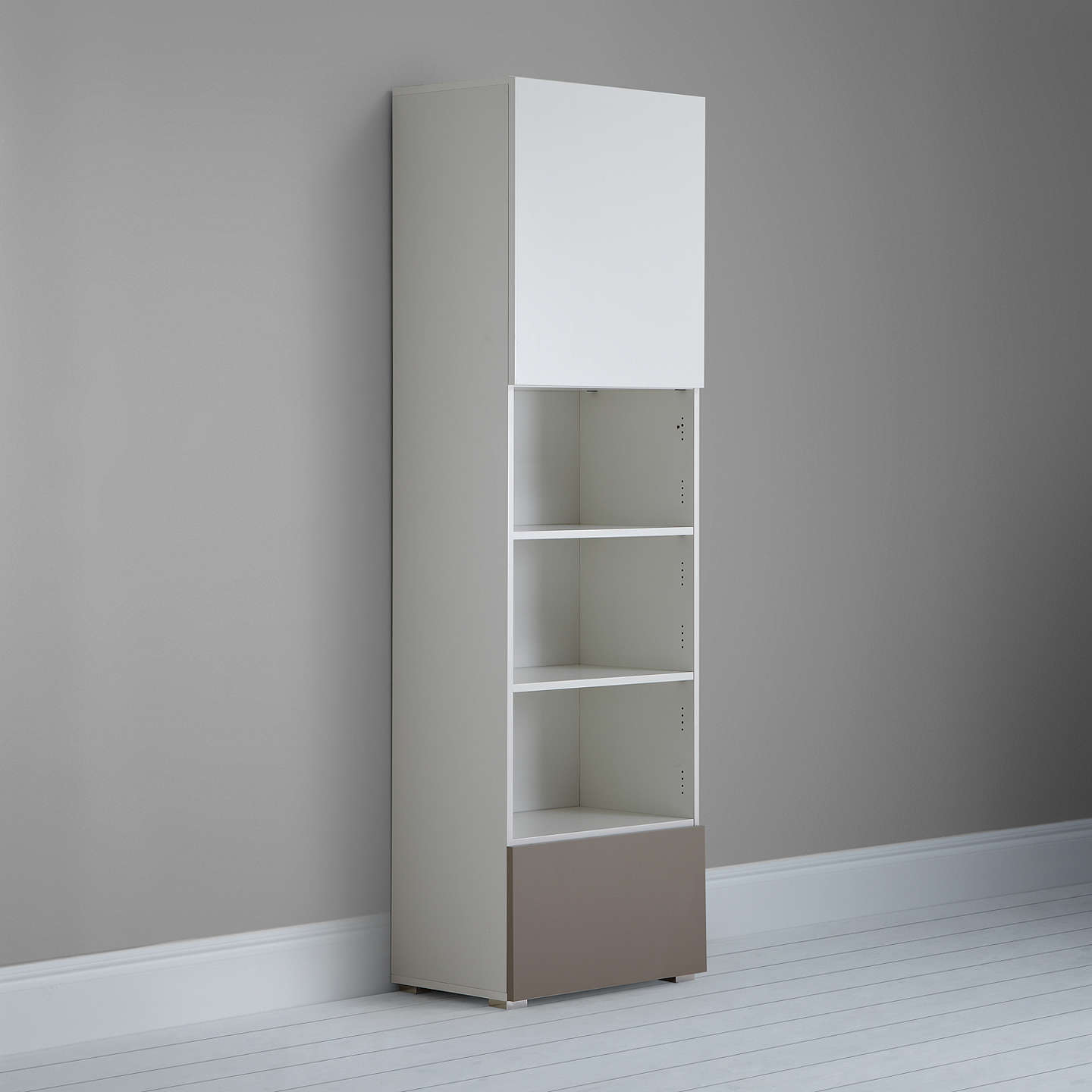 BuyHouse by John Lewis Mix it Tall 2-Door Single Shelf Unit, White/Mocha Online at johnlewis.com