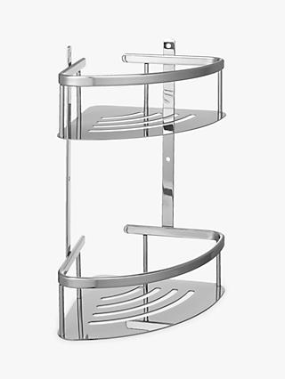 John Lewis U0026 Partners Contemporary Brass And Stainless Steel 2 Tier Corner Shower  Basket