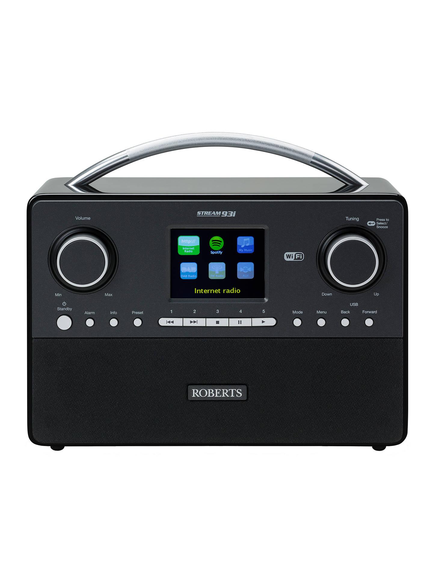 roberts stream 93i dab fm smart radio at john lewis. Black Bedroom Furniture Sets. Home Design Ideas