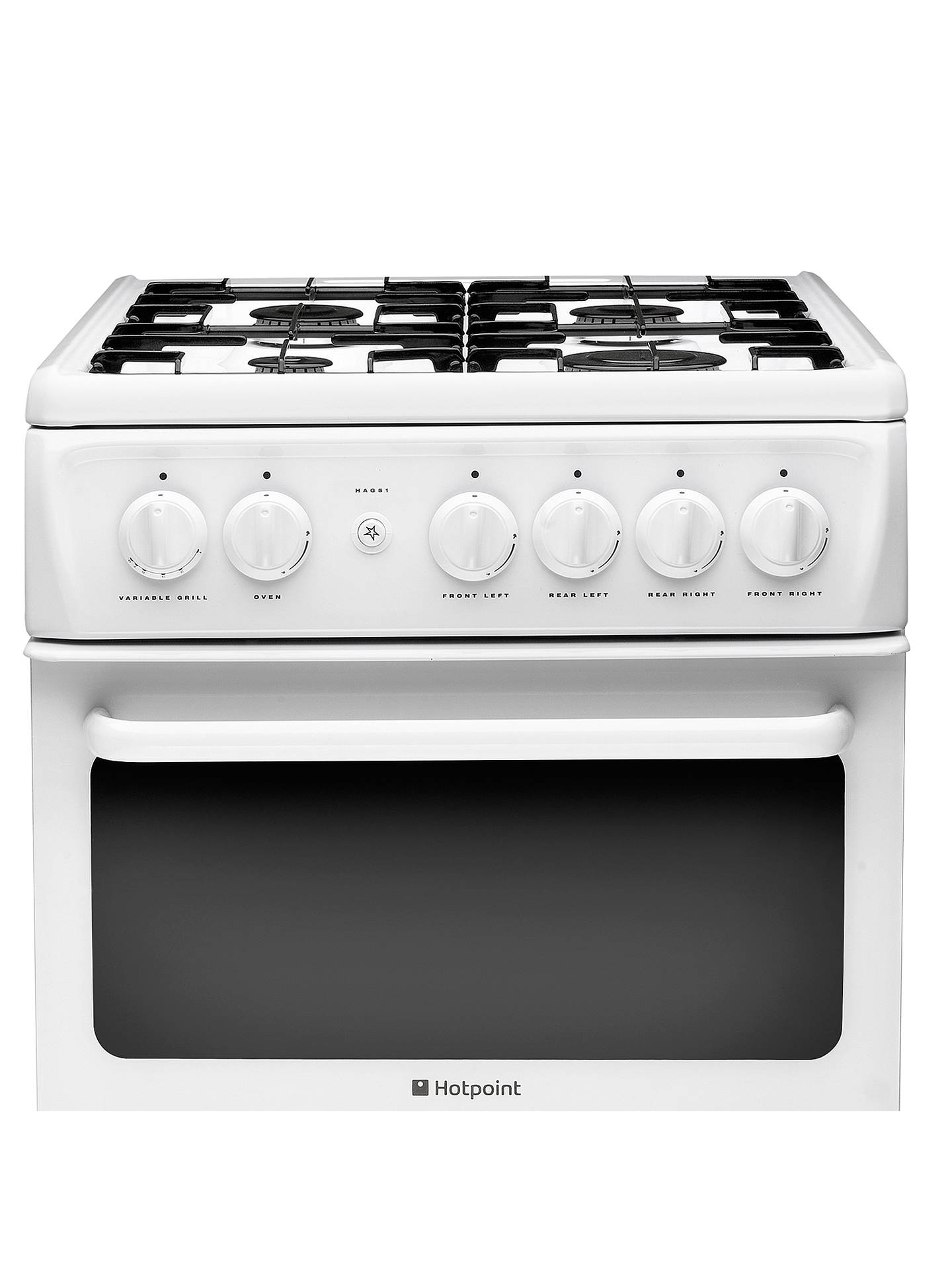 hotpoint hag51p gas cooker white at john lewis partners. Black Bedroom Furniture Sets. Home Design Ideas