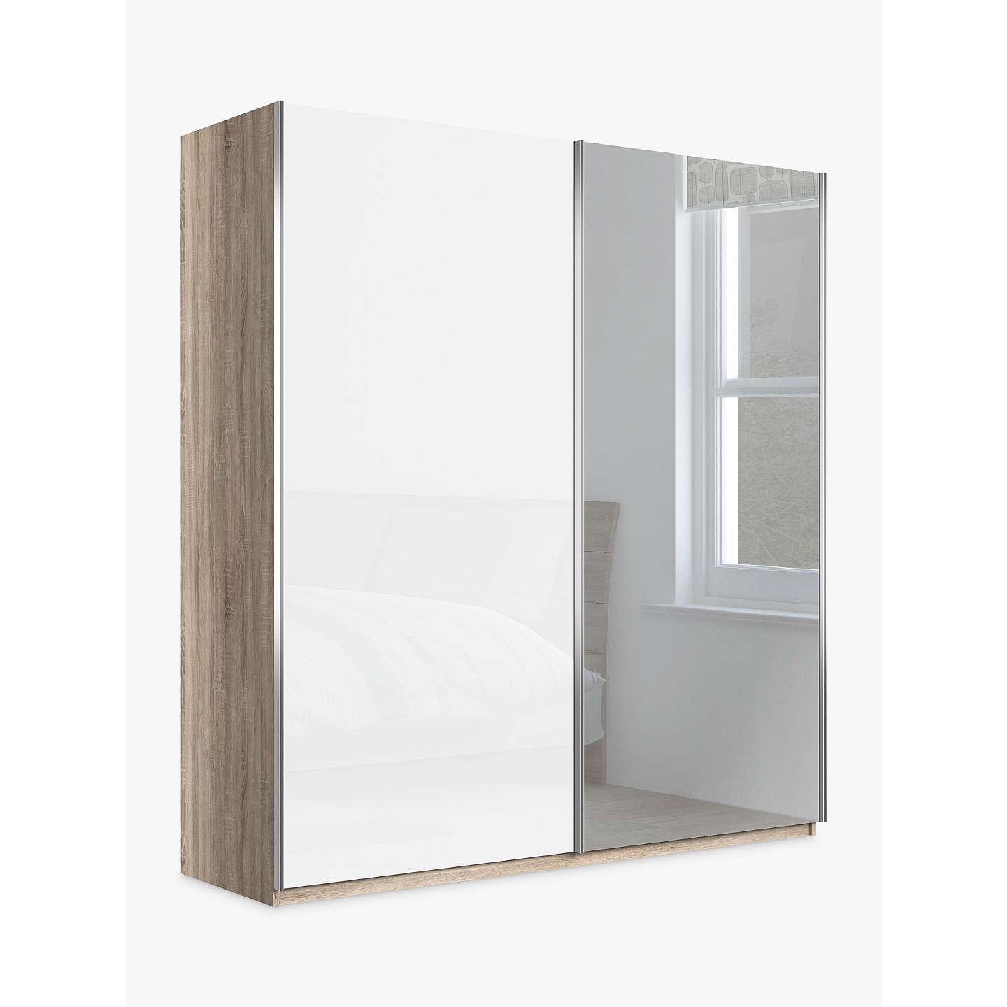 John Lewis Elstra 200cm Wardrobe With Glass And Mirrored