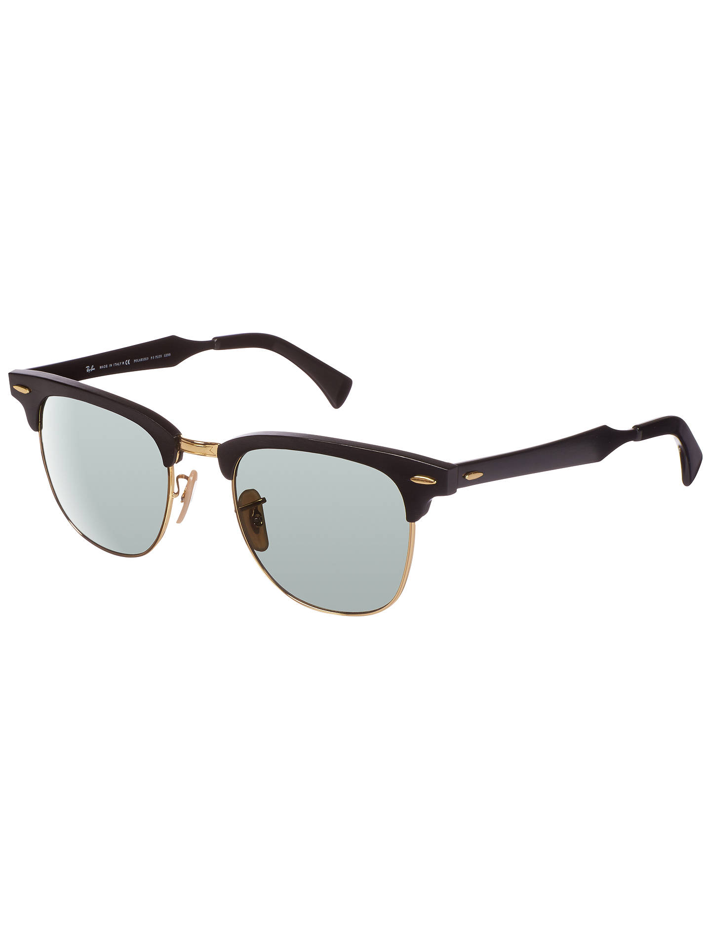 BuyRay-Ban RB3507 Clubmaster Polarised Sunglasses, Black Online at johnlewis.com