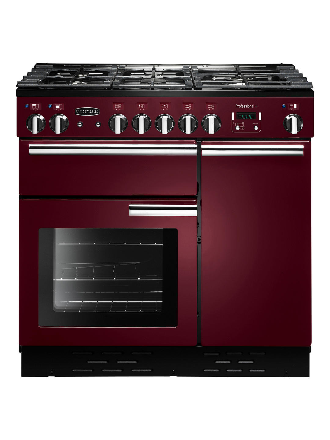 Buy Rangemaster Professional + 90 Dual Fuel Range Cooker, Cranberry/Chrome Trim Online at johnlewis.com