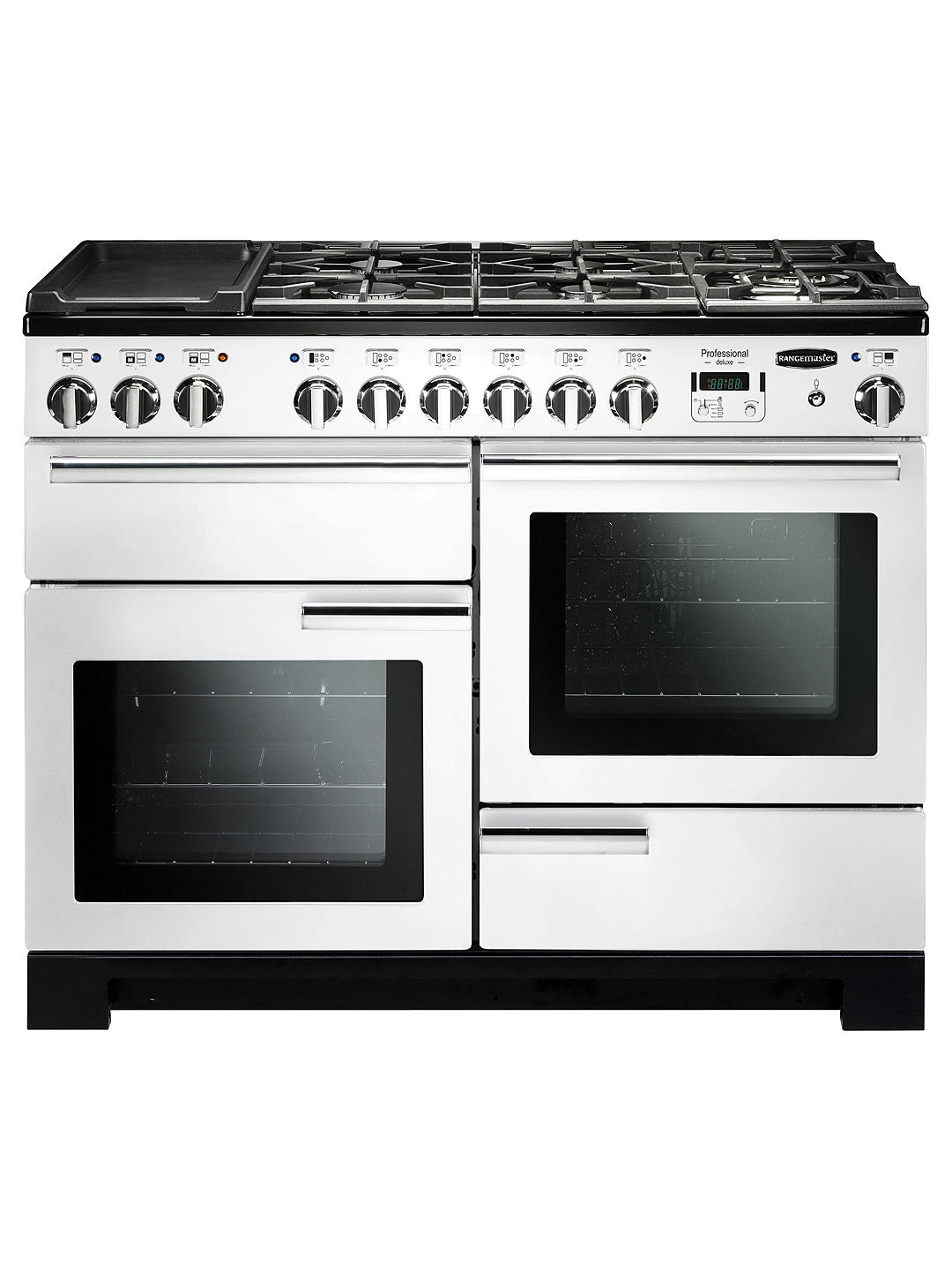 Buy Rangemaster Professional Deluxe 110 Dual Fuel Range Cooker, White/Chrome Trim Online at johnlewis.com