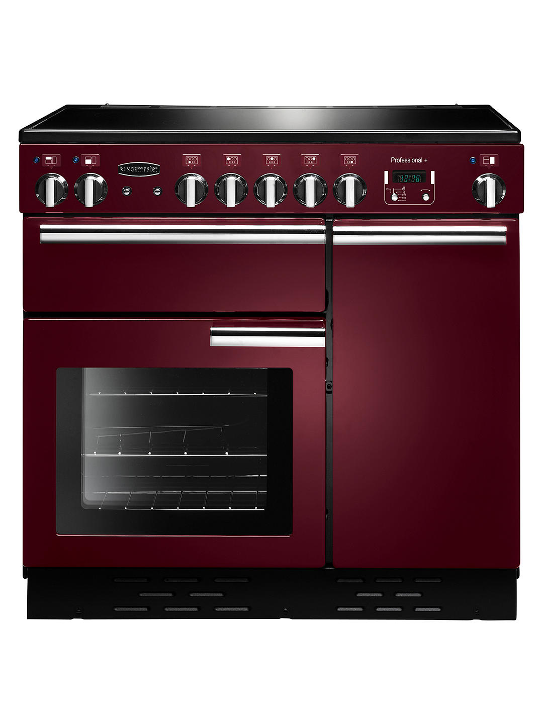 Buy Rangemaster Professional + 90 Electric Range Cooker, Cranberry/Chrome Trim Online at johnlewis.com