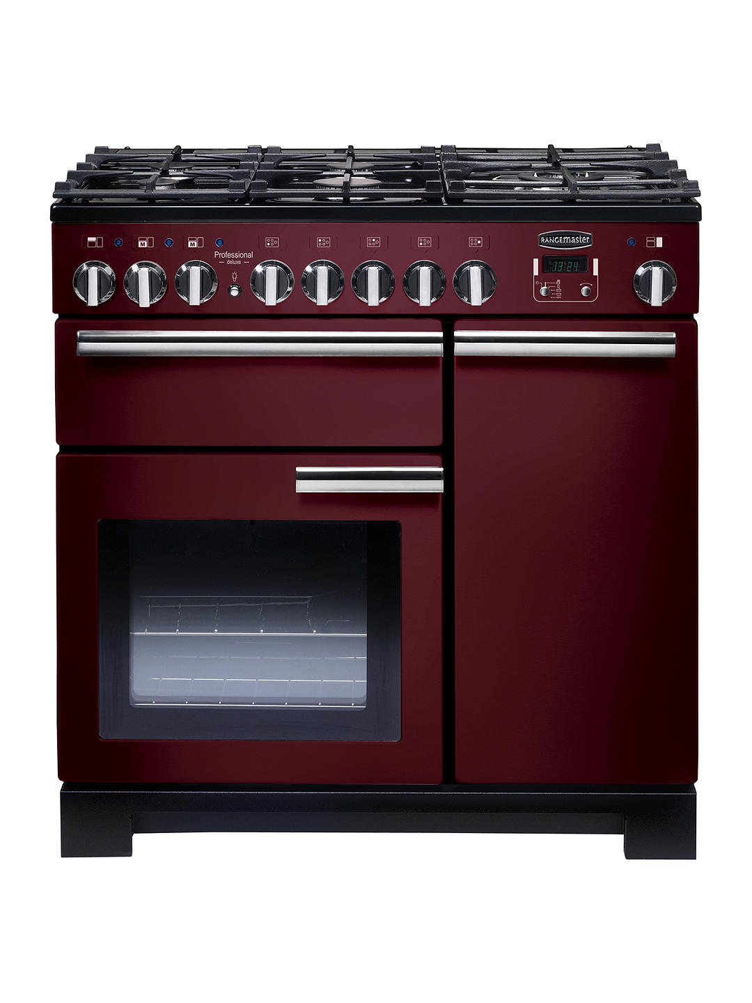 Buy Rangemaster Professional Deluxe 90 Dual Fuel Range Cooker, Cranberry/Chrome Trim Online at johnlewis.com