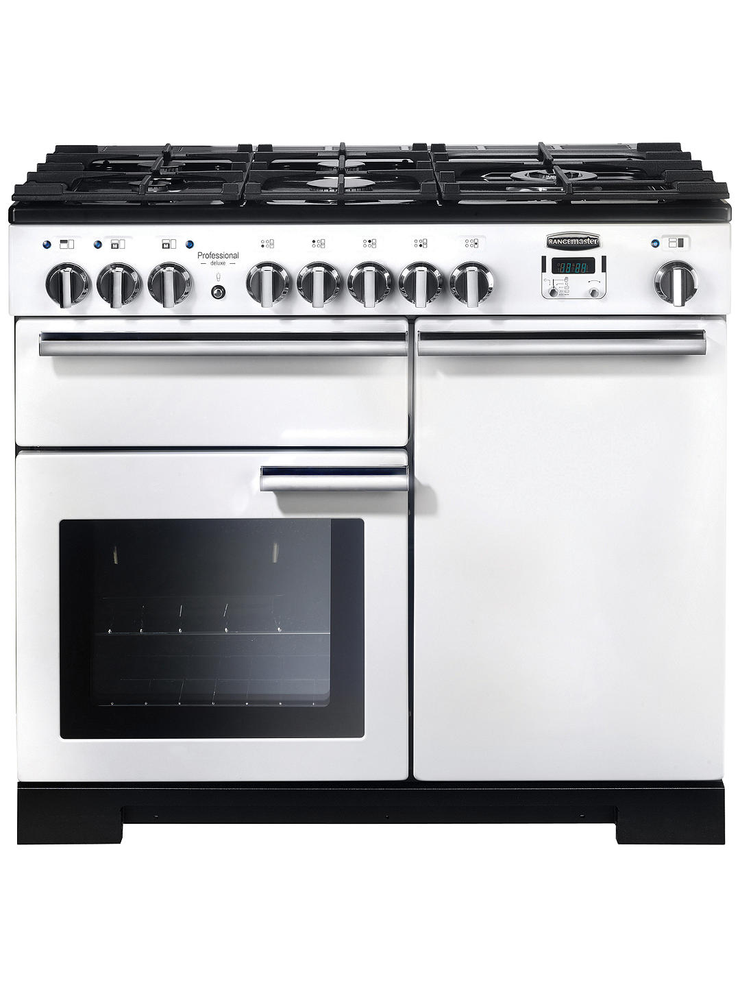 Buy Rangemaster Professional Deluxe 100 Dual Fuel Range Cooker, White/Chrome Trim Online at johnlewis.com