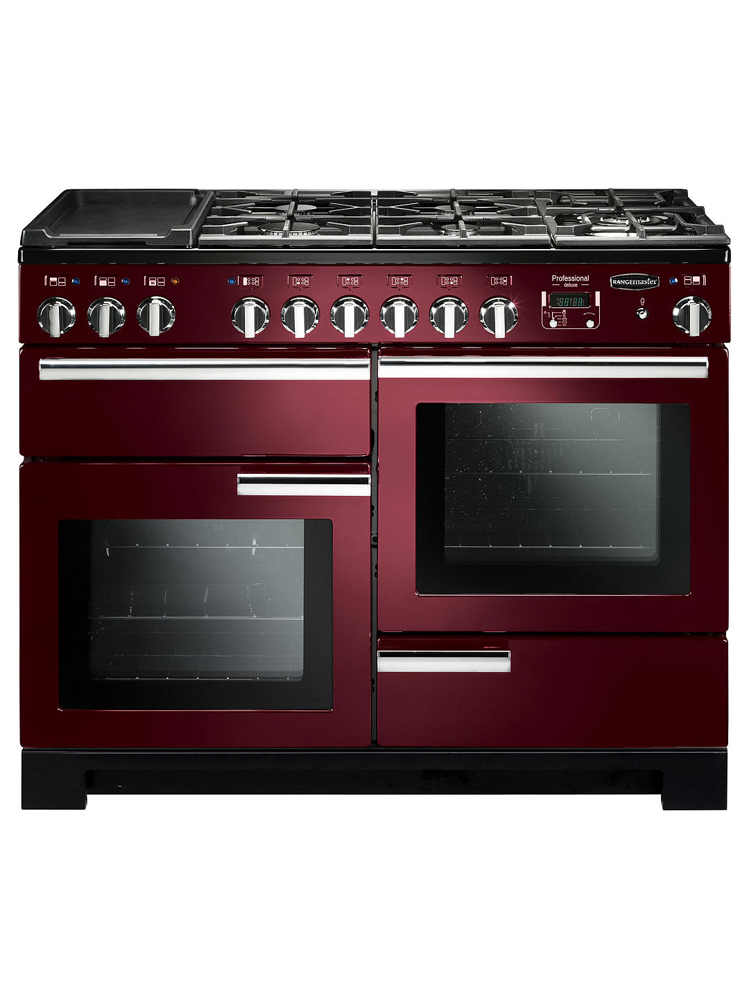 Buy Rangemaster Professional Deluxe 110 Dual Fuel Range Cooker, Cranberry/Chrome Trim Online at johnlewis.com