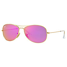 Buy Ray-Ban RB3362 Aviator Sunglasses, Matte Gold/Violet Online at johnlewis.com