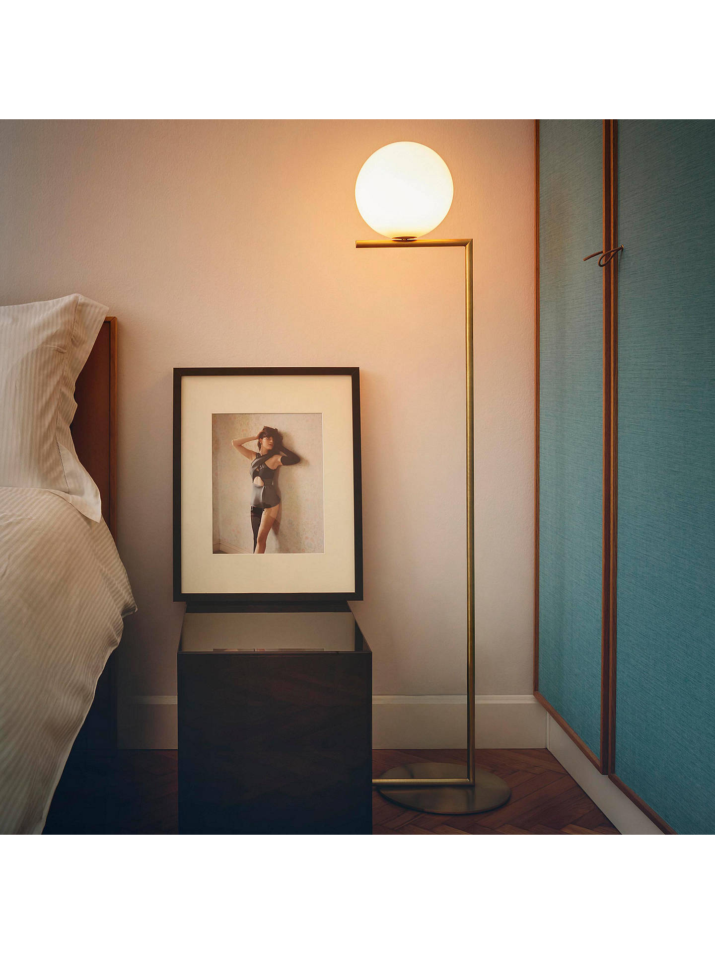 BuyFloss IC F1 Floor Lamp, 20cm, Brushed Brass Online at johnlewis.com