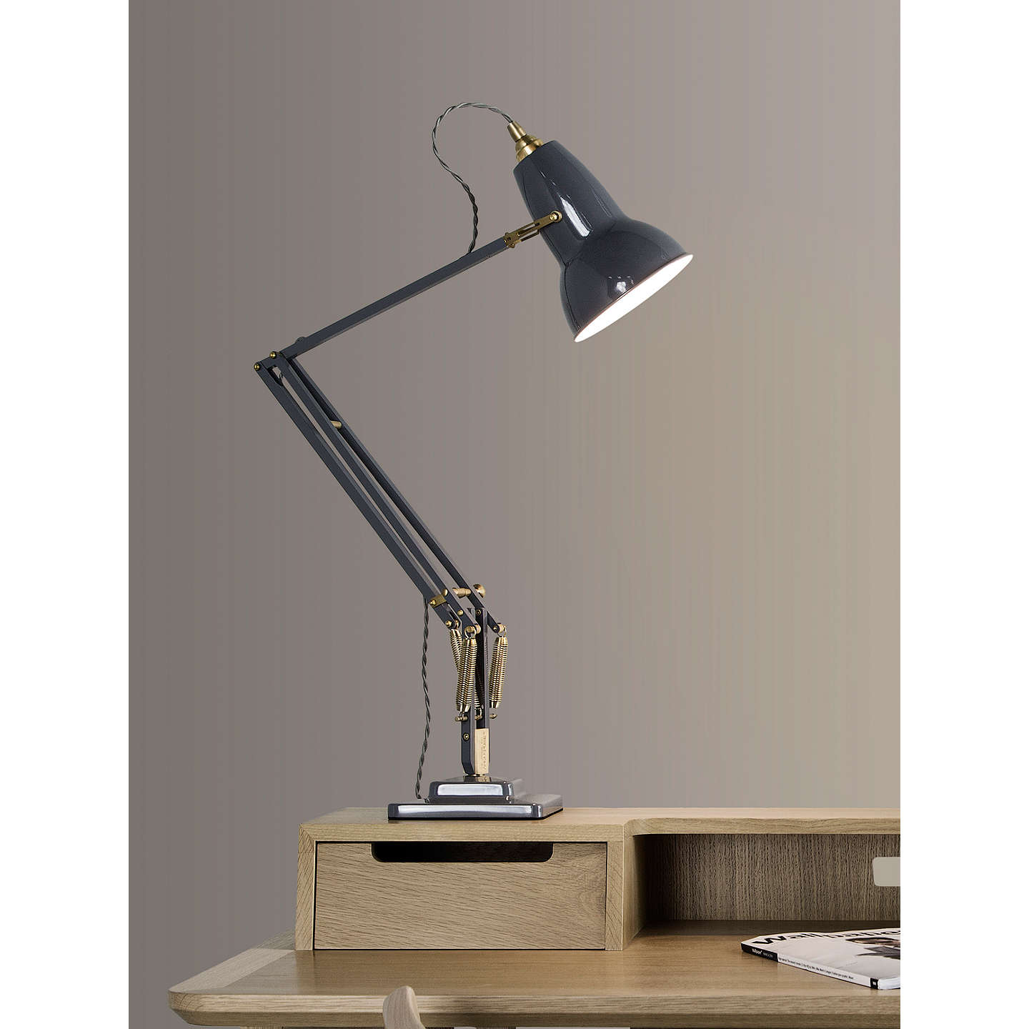 Anglepoise Original 1227 Brass Desk Lamp Elephant Grey At Johnlewis Com