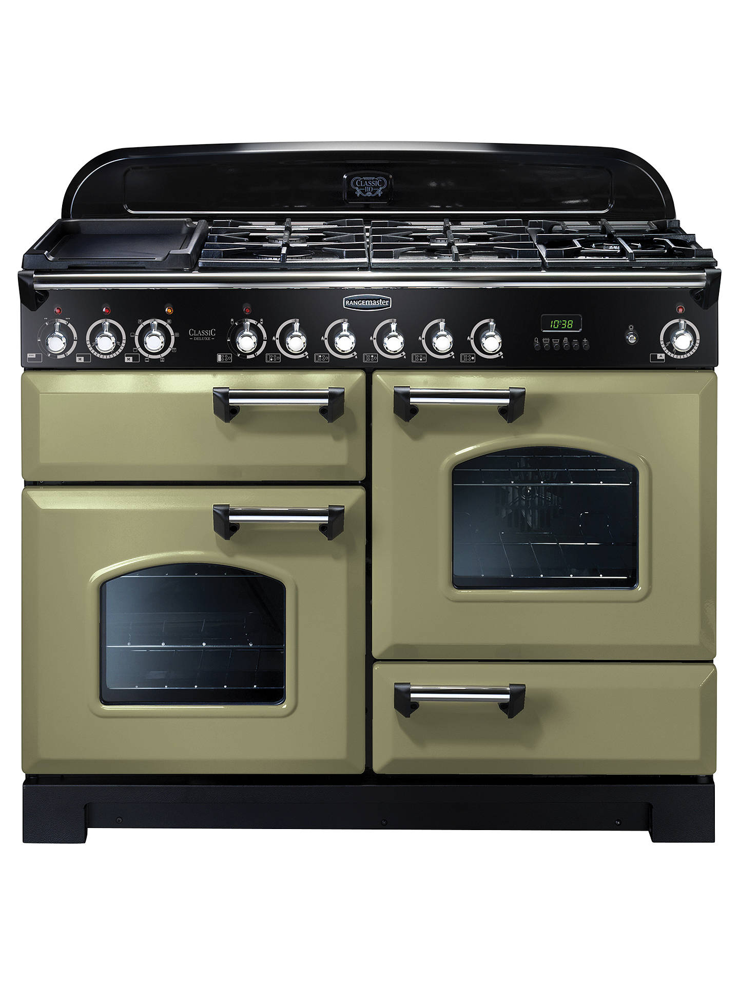 BuyRangemaster Classic Deluxe 110 Dual Fuel Range Cooker, Green/Chrome Trim Online at johnlewis.com
