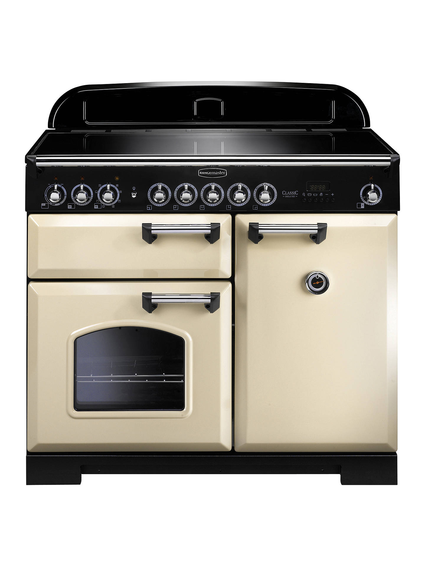 Buy Rangemaster Classic Deluxe 100 Induction Hob Range Cooker, Cream/Chrome Trim Online at johnlewis.com