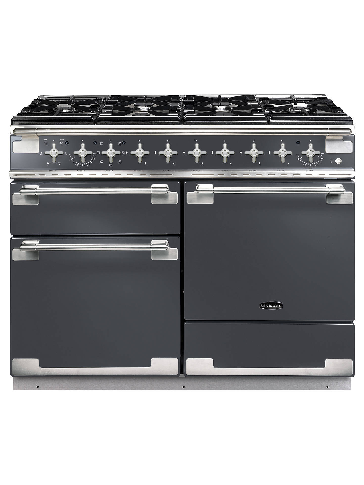 BuyRangemaster Elise 110 Dual Fuel Range Cooker, Slate/Brushed Chrome Trim Online at johnlewis.com