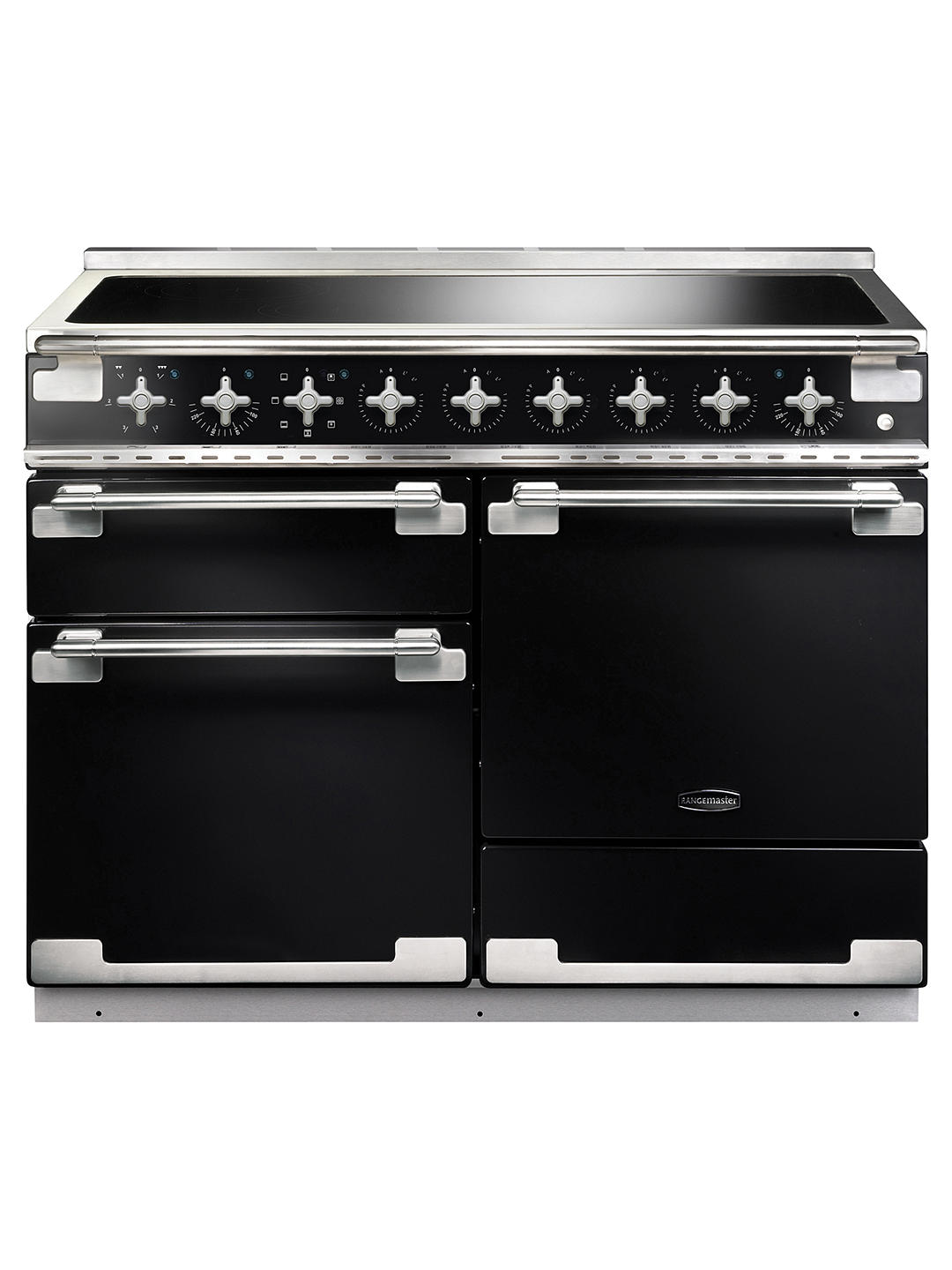 Buy Rangemaster Elise 110 Induction Hob Range Cooker, Gloss Black/Brushed Chrome Trim Online at johnlewis.com
